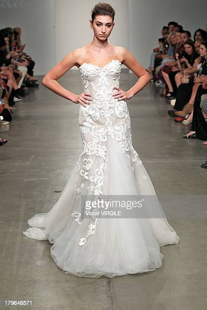 A model walks the runway wearing Aurelio Costarella in the Fashion Palette Australia fashion show at Pier 59 on September 5 2013 in New York City