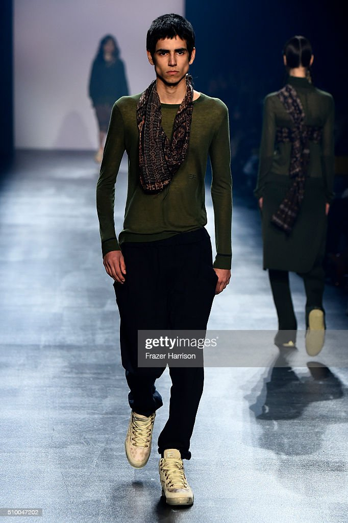 A model walks the runway wearing Baja East Fall 2016 during New York Fashion Week: The Shows at The Dock, Skylight at Moynihan Station on February 13, 2016 in New York City.