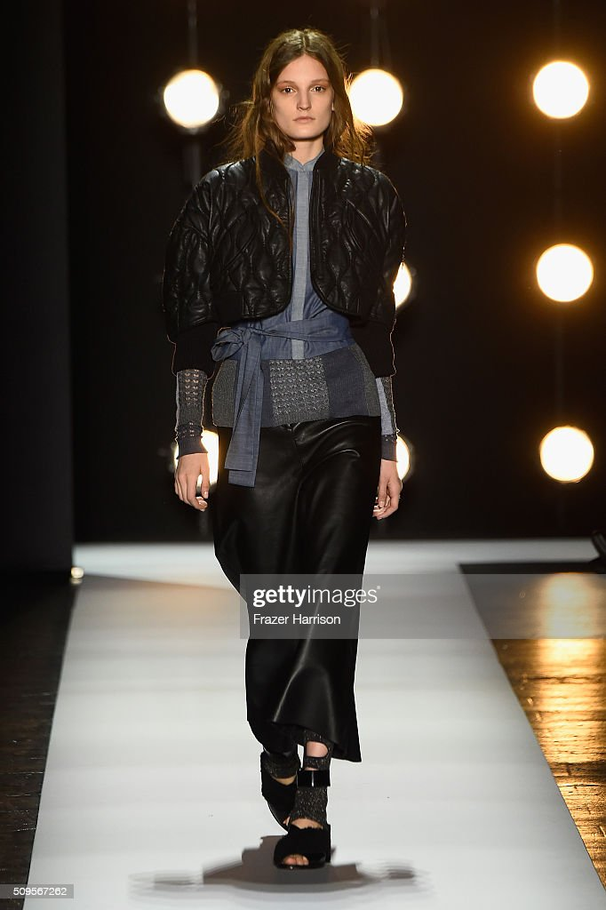 A model walks the runway wearing BCBGMAXAZRIA Fall 2016 during New York Fashion Week: The Shows at The Dock, Skylight at Moynihan Station on February 11, 2016 in New York City.