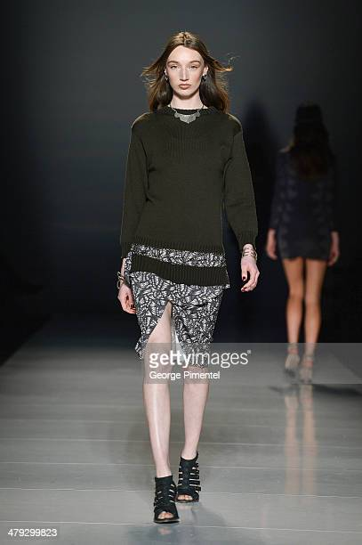 A model walks the runway wearing Beaufille fall 2014 collection during World MasterCard Fashion Week Fall 2014 at David Pecaut Square on March 17...
