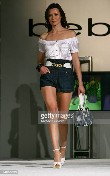 A model walks the runway wearing Bebe Fall 2007 at Fashion TV's Tenth Anniversary Celebration at Social Hollywood on May 2 2007 in Los Angeles...