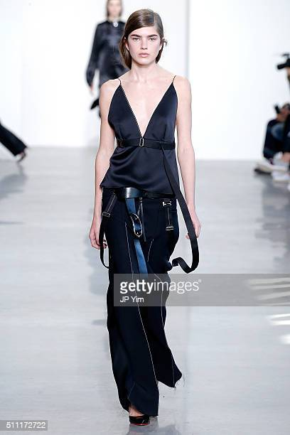 A model walks the runway wearing Calvin Klein Collection Fall 2016 during New York Fashion Week at Spring Studios on February 18 2016 in New York City