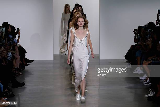 A model walks the runway wearing Calvin Klein Collection Spring 2016 during New York Fashion Week The Shows at Spring Studios on September 17 2015 in...