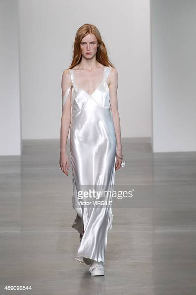 A model walks the runway wearing Calvin Klein Collection Spring 2016 during New York Fashion Week on September 17 2015 in New York City