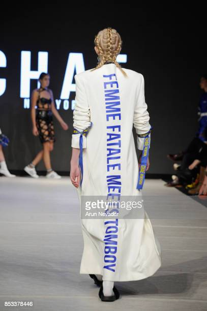 A model walks the runway wearing Chae NewYork at 2017 Vancouver Fashion Week Day 7 on September 24 2017 in Vancouver Canada