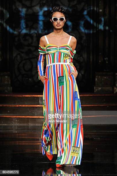 A model walks the runway wearing Charles and Ron at Art Hearts Fashion NYFW The Shows presented by AIDS Healthcare Foundation at The Angel Orensanz...