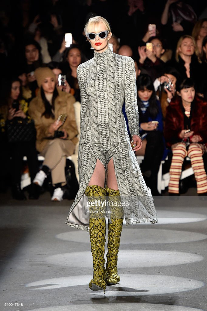 A model walks the runway wearing Christian Siriano Fall 2016 during New York Fashion Week at ArtBeam on February 13, 2016 in New York City.