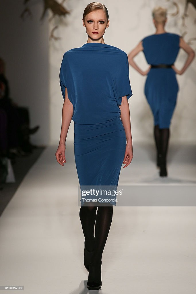 A model walks the runway wearing CZAR By Cesar Galindo Fall 2013 at Lincoln Center on February 8, 2013 in New York City.