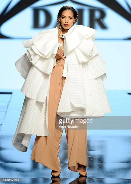A model walks the runway wearing Dair by Odair Pereira at Art Hearts Fashion Los Angeles Fashion Week presented by AIDS Healthcare Foundation on...