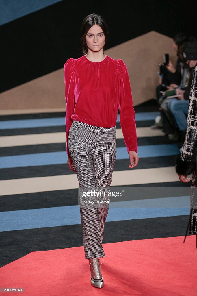 A model walks the runway wearing Derek Lam Fall 2016 during New York Fashion Week at The Gallery, Skylight at Clarkson Sq on February 14, 2016 in New York City.