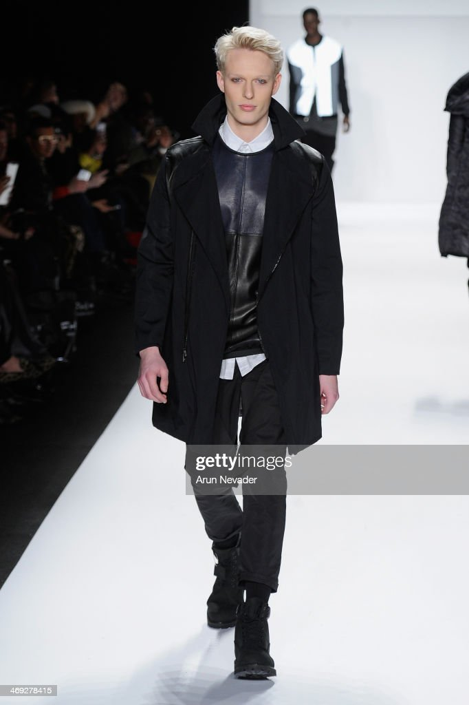 A model walks the runway wearing designer Control Sector at the FLT Moda + Art Hearts Fashion show presented by AIDS Healthcare Foundation during Mercedes-Benz Fashion Week Fall 2014 on February 13, 2014 in New York City.