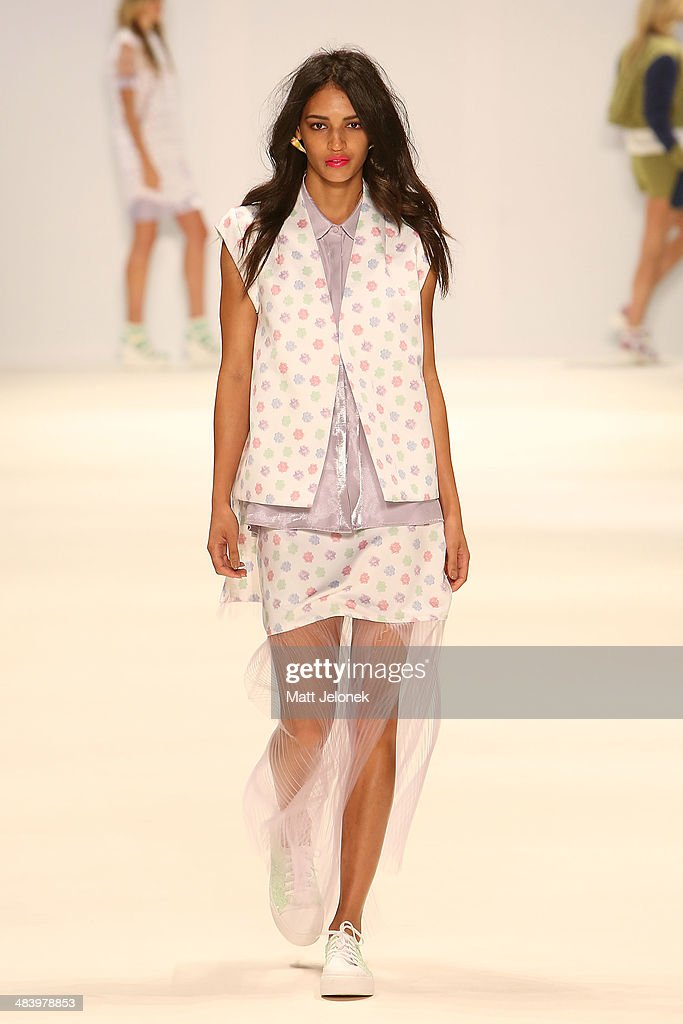 A model walks the runway wearing designs by Aquintic at the New Generation show at Mercedes-Benz Fashion Week Australia 2014 at on April 10, 2014 in Sydney, Australia.
