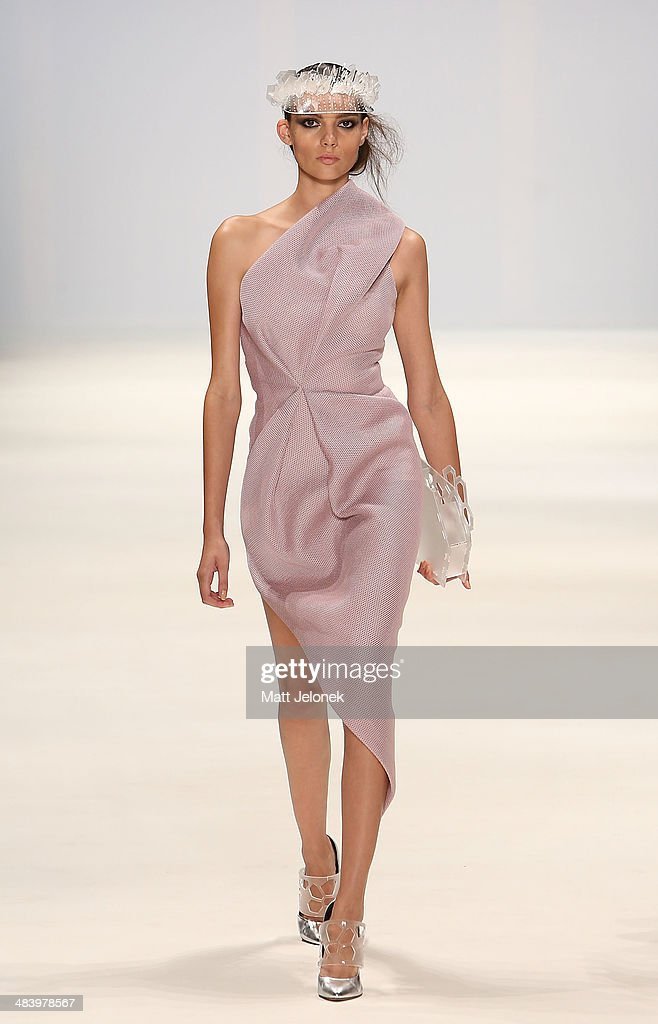 A model walks the runway wearing designs by Bei Na Wei at the Innovators show at Mercedes-Benz Fashion Week Australia 2014 on April 10, 2014 in Sydney, Australia.