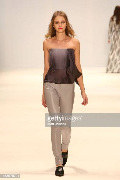 A model walks the runway wearing designs by Caslazur at the New Generation show at MercedesBenz Fashion Week Australia 2014 on April 10 2014 in...