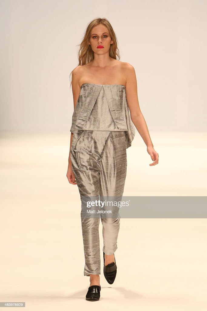 A model walks the runway wearing designs by Caslazur at the New Generation show at Mercedes-Benz Fashion Week Australia 2014 on April 10, 2014 in Sydney, Australia.