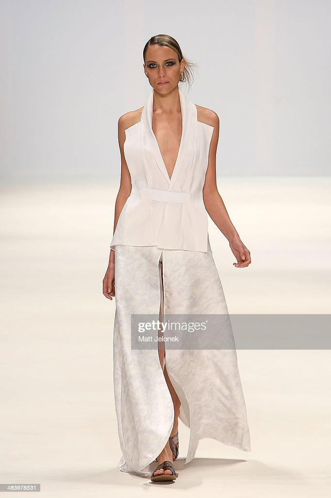 A model walks the runway wearing designs by Hayley Dawson at the Innovators show at Mercedes-Benz Fashion Week Australia 2014 on April 10, 2014 in Sydney, Australia.