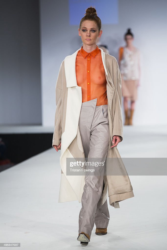 A model walks the runway wearing designs by Maria Brimelow during the Kingston University show during day 3 of Graduate Fashion Week 2014 at The Old Truman Brewery on June 2, 2014 in London, England.