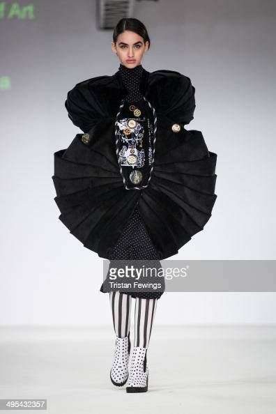 A model walks the runway wearing designs by Olga Profutkina from Limerick School of Art and Design during the International Catwalk Competition show...