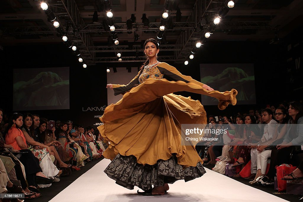 A model walks the runway wearing designs by Purvi Doshi at day 4 of Lakme Fashion Week Summer/Resort 2014 at the Grand Hyatt on March 14, 2014 in Mumbai, India.