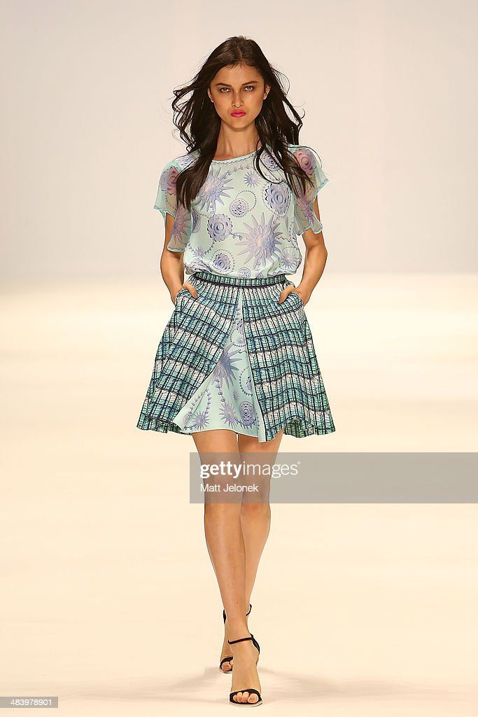 A model walks the runway wearing designs by RachelAlex at the New Generation show at Mercedes-Benz Fashion Week Australia 2014 at on April 10, 2014 in Sydney, Australia.