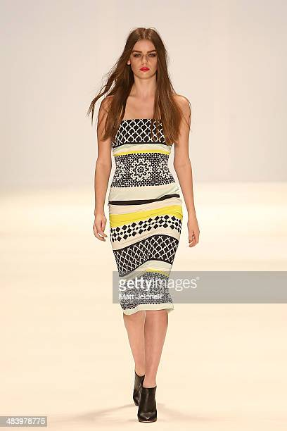 A model walks the runway wearing designs by Rukshani at the New Generation show at MercedesBenz Fashion Week Australia 2014 at on April 10 2014 in...