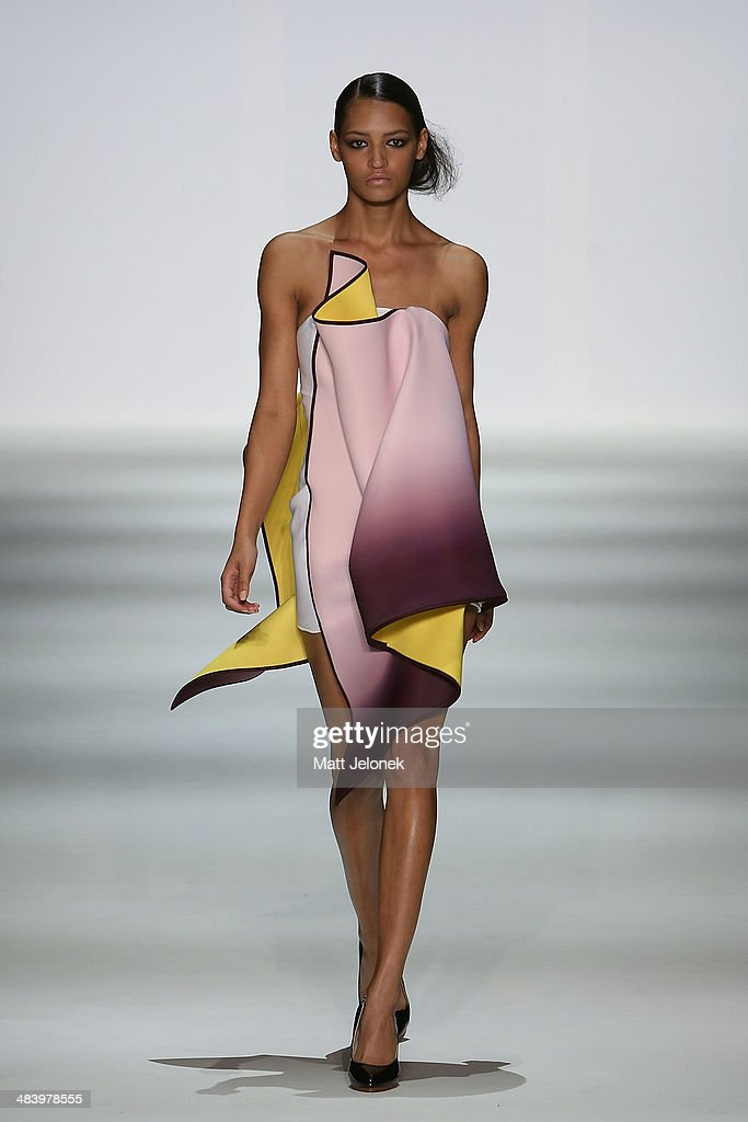 A model walks the runway wearing designs by Yousef Akbar at the Innovators show at Mercedes-Benz Fashion Week Australia 2014 on April 10, 2014 in Sydney, Australia.
