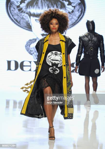 A model walks the runway wearing Dexter Simmons at Los Angeles Fashion Week SS18 Art Hearts Fashion LAFW on October 6 2017 in Los Angeles California