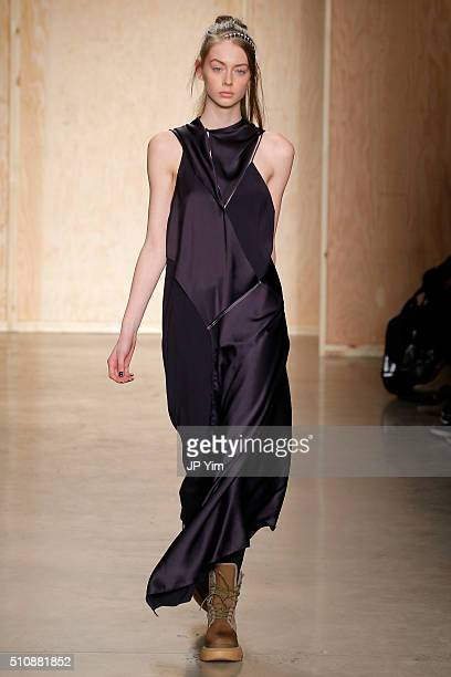 A model walks the runway wearing DKNY Women's Fall 2016 during New York Fashion Week The Shows at Skylight Modern on February 17 2016 in New York City