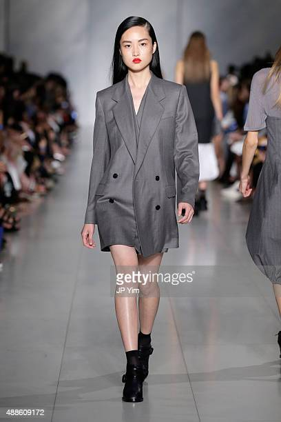 A model walks the runway wearing DKNY Women's Spring 2016 during New York Fashion Week The Shows on September 16 2015 in New York City