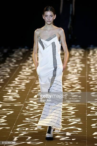A model walks the runway wearing Edun Fall 2016 during New York Fashion Week on February 14 2016 in New York City