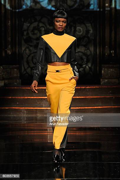 A model walks the runway wearing Elochee at Art Hearts Fashion NYFW The Shows presented by AIDS Healthcare Foundation at The Angel Orensanz...