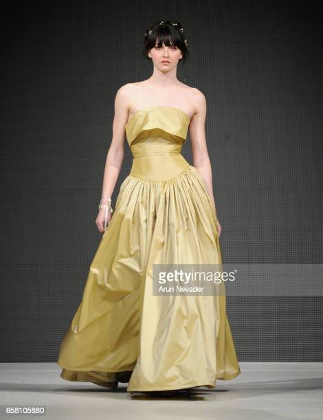 A model walks the runway wearing Evan Clayton at Vancouver Fashion Week Fall/Winter 2017 at Chinese Cultural Centre of Greater Vancouver on March 26...