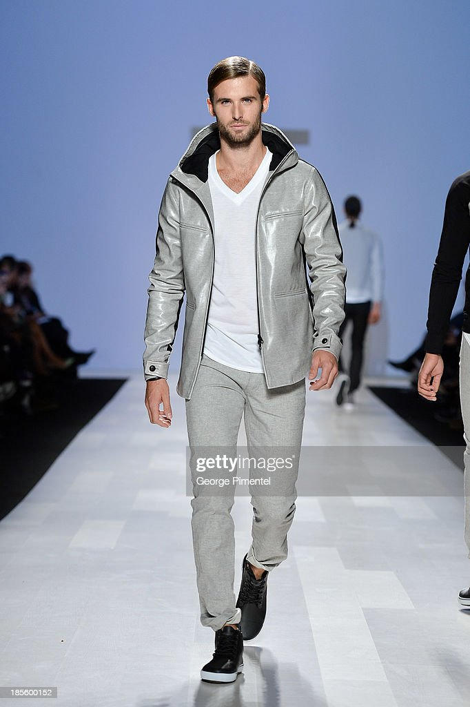 A model walks the runway wearing Faded Lifestyle spring 2014 collection during the Mercedes-Benz Start-Up national final at World MasterCard Fashion Week Spring 2014 at David Pecaut SquareDavid Pecaut Square on October 22, 2013 in Toronto, Canada.