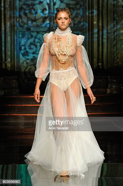 A model walks the runway wearing Fernando Alberto featuring Fernando Rodriguez at Art Hearts Fashion NYFW The Shows presented by AIDS Healthcare...