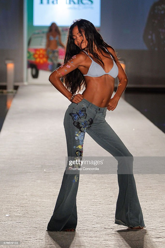 A model walks the runway wearing Frankies Bikinis 2017 Collection at SwimMiami at The W Hotel South Beach on July 15, 2016 in Miami, Florida.