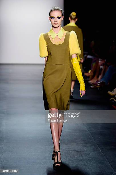 A model walks the runway wearing Georgine Spring 2016 during New York Fashion Week The Shows at The Dock Skylight at Moynihan Station on September 13...