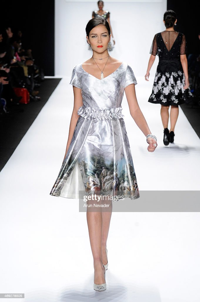 A model walks the runway wearing Gianni Tolentino at the FLT Moda + Art Hearts Fashion show presented by AIDS Healthcare Foundation during Mercedes-Benz Fashion Week Fall 2014 on February 13, 2014 in New York City.