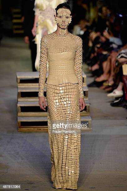 A model walks the runway wearing Givenchy Spring 2016 during New York Fashion Week at Pier 26 at Hudson River Park on September 11 2015 in New York...