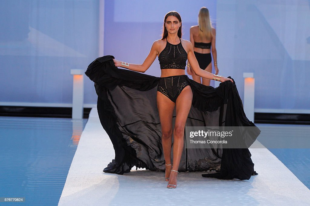 A model walks the runway wearing Gottex Cruise 2017 at SwimMiami at W South Beach on July 16, 2016 in Miami Beach, Florida.