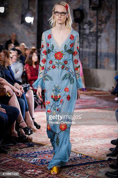 A model walks the runway wearing Gucci Cruise 2016 on June 4 2015 in New York City