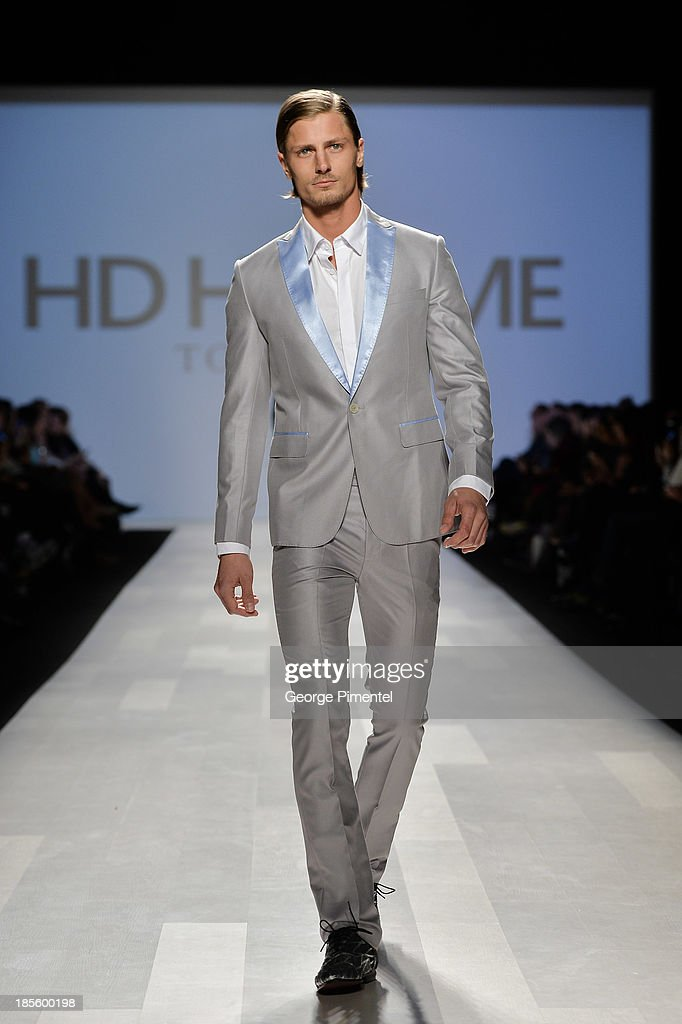 A model walks the runway wearing HD HOMME spring 2014 collection during the Mercedes-Benz Start-Up national final at World MasterCard Fashion Week Spring 2014 at David Pecaut Squareat David Pecaut Square on October 22, 2013 in Toronto, Canada.