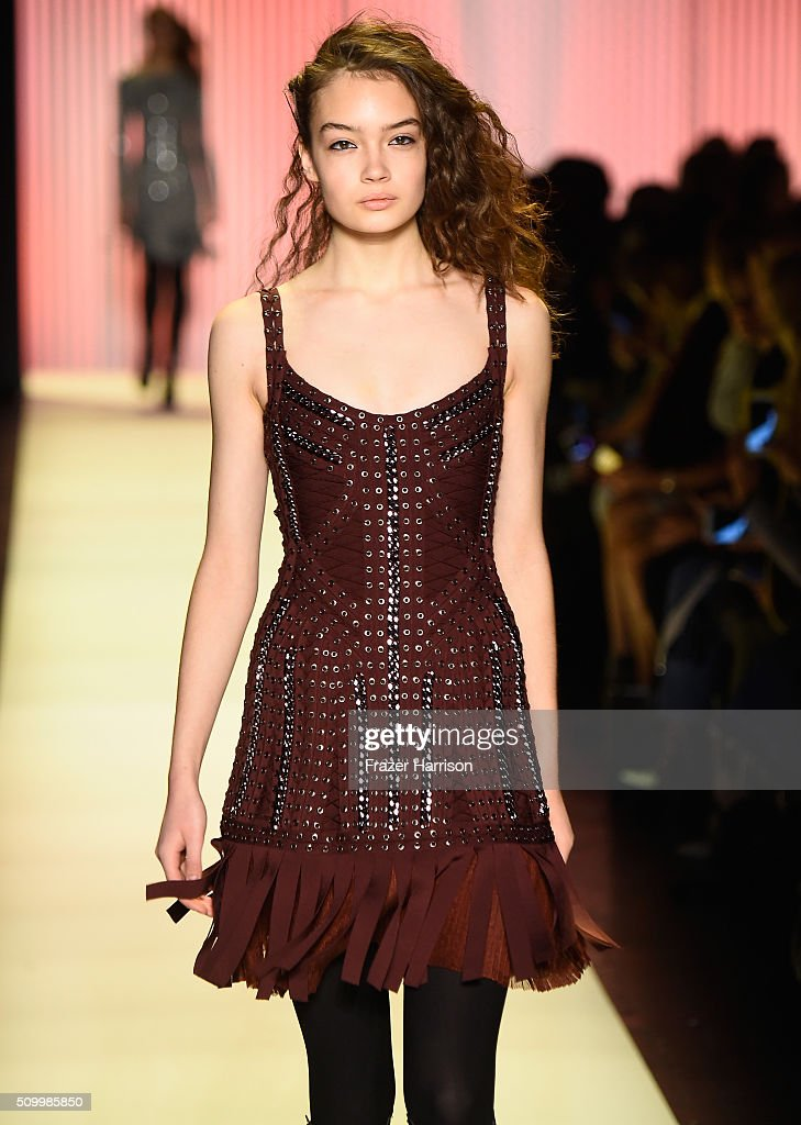 A model walks the runway wearing Herve Leger By Max Azria Fall 2016 during New York Fashion Week: The Shows at The Arc, Skylight at Moynihan Station on February 13, 2016 in New York City.