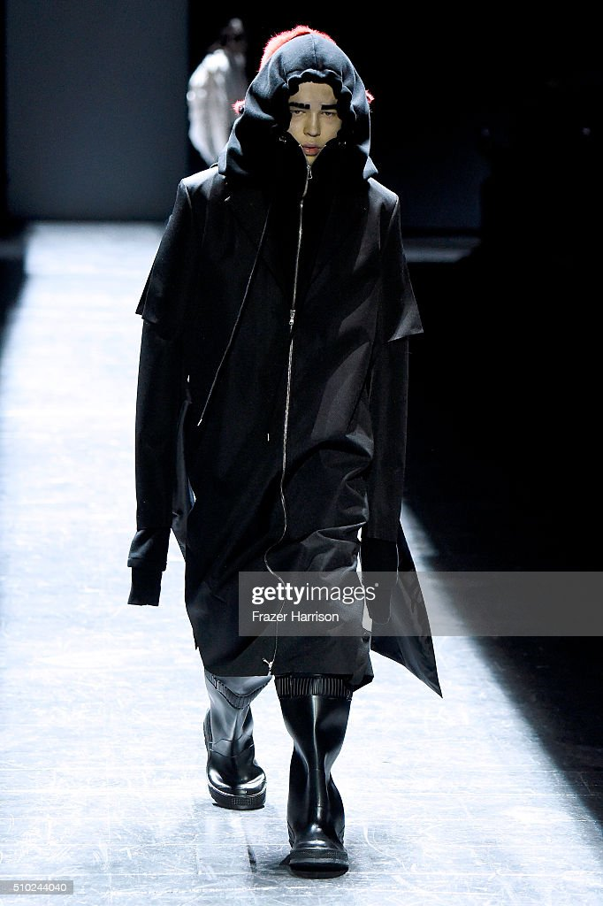 A model walks the runway wearing Hood By Air Fall 2016 during New York Fashion Week: The Shows at The Arc, Skylight at Moynihan Station on February 14, 2016 in New York City.