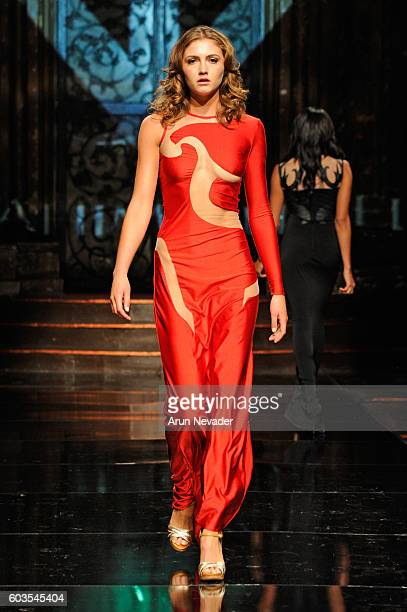 A model walks the runway wearing Ibrahim Vukel at Art Hearts Fashion NYFW The Shows presented by AIDS Healthcare Foundation at The Angel Orensanz...