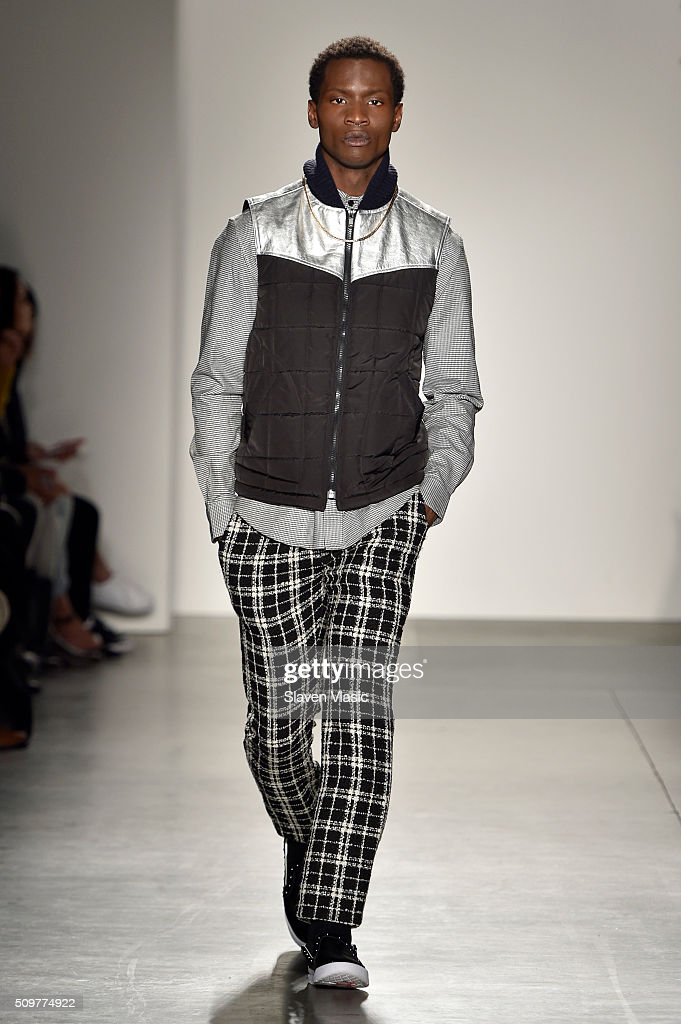 A model walks the runway wearing iiJin Fall 2016 during New York Fashion Week at Pier 59 on February 12, 2016 in New York City.