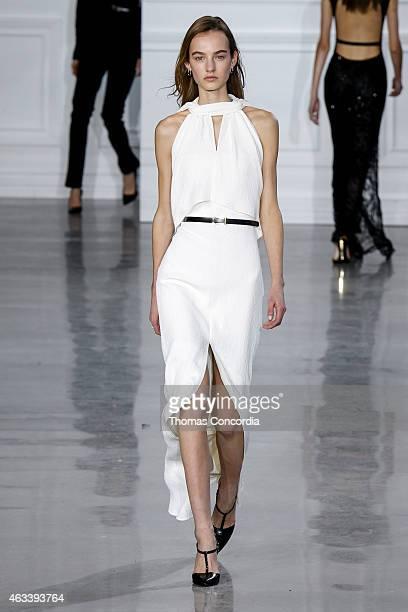 A model walks the runway wearing Jason Wu Fall 2015 during MercedesBenz Fashion Week Fall 2015 at Spring Studios on February 13 2015 in New York City