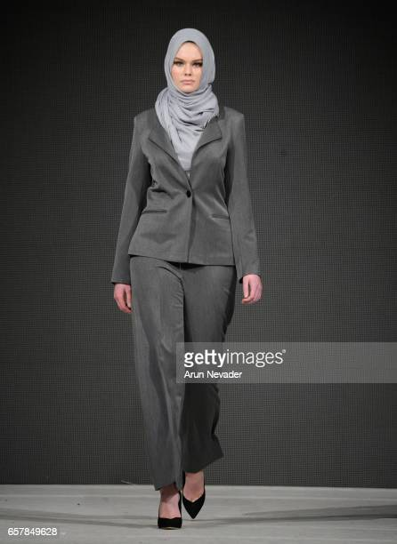 A model walks the runway wearing Jemmila at Vancouver Fashion Week Fall/Winter 2017 at Chinese Cultural Centre of Greater Vancouver on March 25 2017...