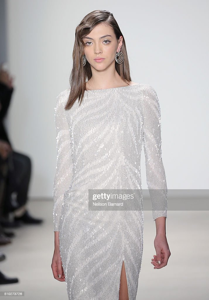 A model walks the runway wearing Jenny Packham Fall 2016 during New York Fashion Week: The Shows at The Gallery, Skylight at Clarkson Sq on February 14, 2016 in New York City.