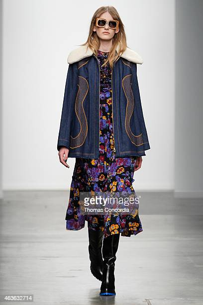 A model walks the runway wearing Karen Walker Fall 2015 during MercedesBenz Fashion Week at Pier 59 on February 16 2015 in New York City