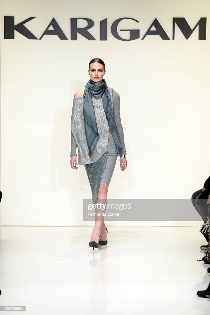 A model walks the runway wearing Karigam Fall 2016 during New York Fashion Week: The Shows at The Space, Skylight at Clarkson Sq on February 12, 2016 in New York City.